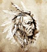 Latest Native American Chief Tattoo Sketch