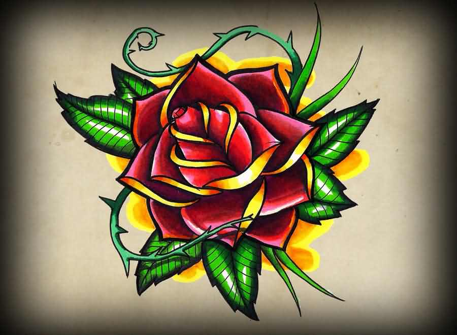 Latest Old School Rose Tattoo Poster