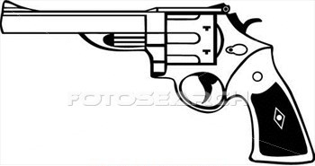 Latest Outline Pistol Tattoo Design