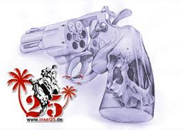 Latest Skull Pistol Tattoo Design
