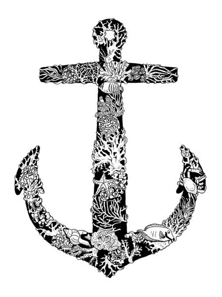 Latest Style Floral Anchor Tattoo Design