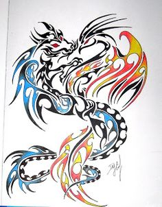 Latest Tribal Dragon And Phoenix Tattoo Design