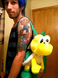 Left Half Sleeve Super Mario Tattoos