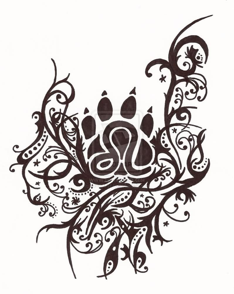 Leo Symbol Paw Print And Swirls Tattoo Designs