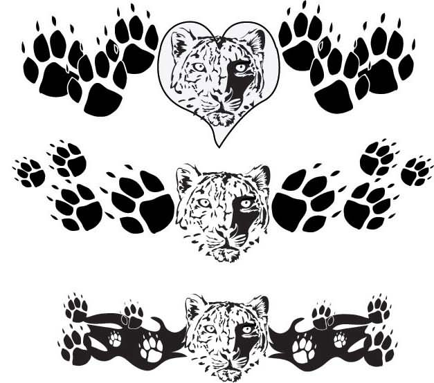 Leopard Paw Prints Tattoos For Lowerback