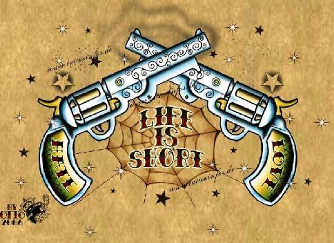 Life Is Short Spiderweb Pistol And Star Tattoo Designs