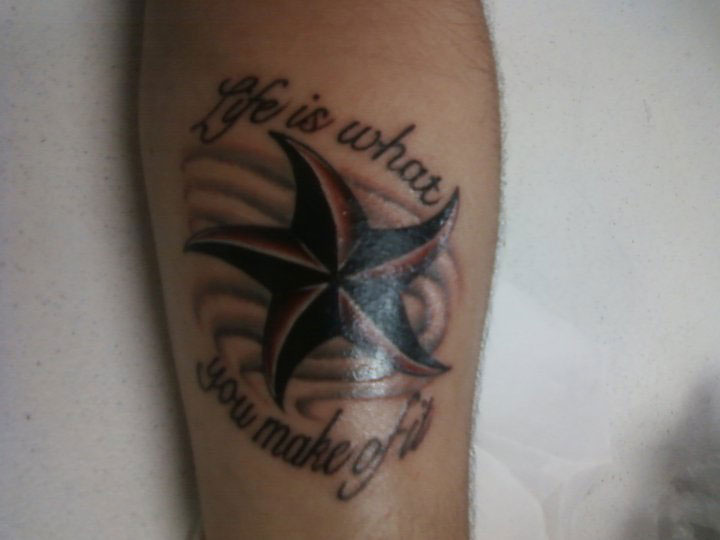 Life Quote And Nautical Star Tattoos