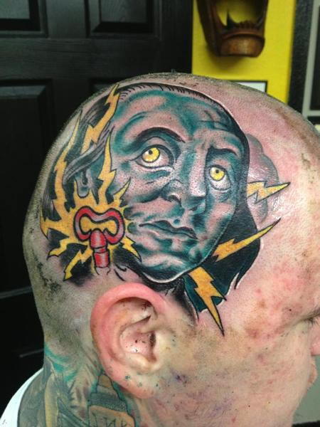 Lightning People Face Tattoo On Head