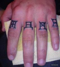 Little Black Symbol Tattoos On Fingers