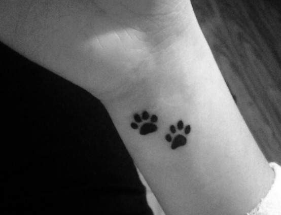 Little Dog Paw Tattoos On Inner Wrist