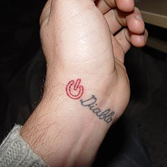 Little Double Outline Power Symbol Tattoo On Wrist