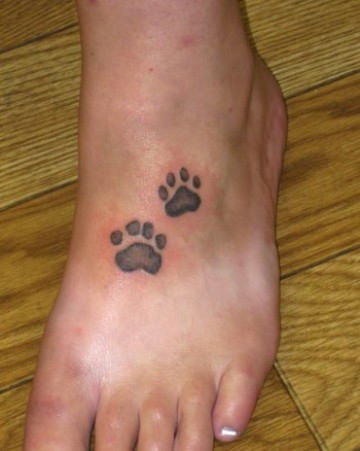 Little Grey Paw Print Tattoos On Foot