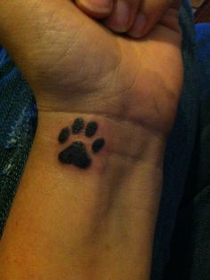 Little Heart Paw Print Tattoo On Inner Wrist
