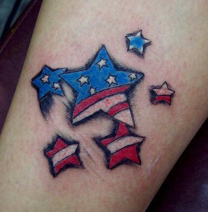 Little Patriotic Star Tattoos