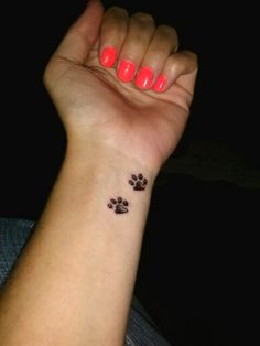 Little Paw Print Tattoos On Right Inner Wrist