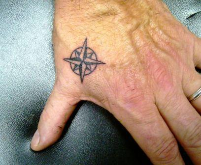 Little Size Nautical Compass Tattoo On Thumb