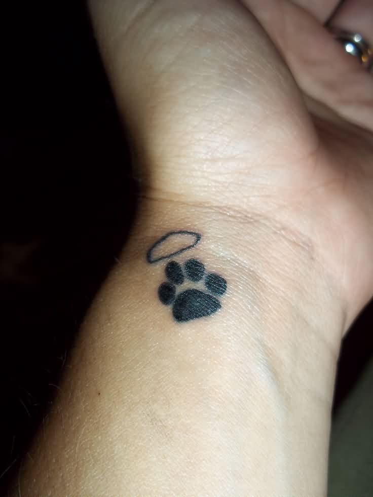 Little Size Paw Print Tattoo On Inner Wrist