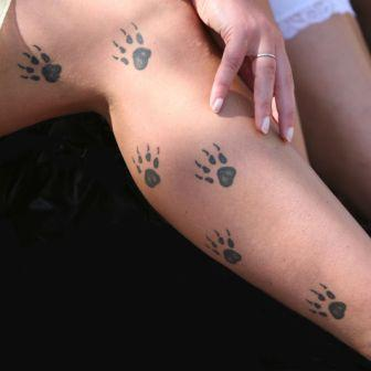 Little Size Paw Tattoos On Leg