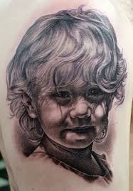 Little Sweet Girl Portrait Tattoo