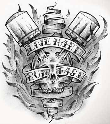 Live Hard Run Fast Tattoo Design
