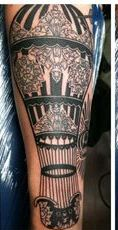 Long Designed Air Balloon Tattoos