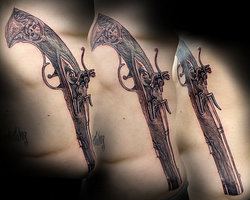 Long Flintlock Pistol Tattoos