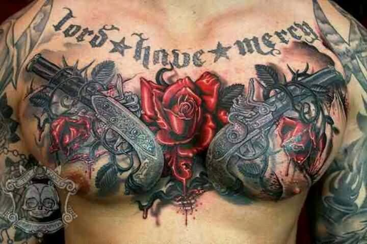 Lord Have Mercy Double Pistols And Rose Tattoos On Full Chest