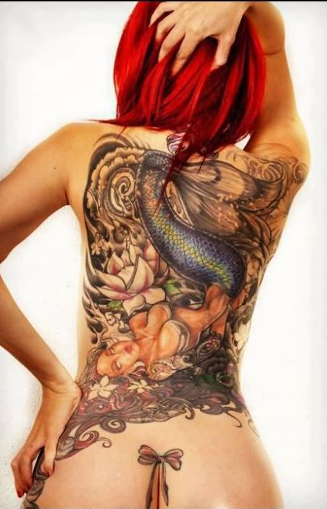Lotus Mermaid And Bow Tattoos On The Back
