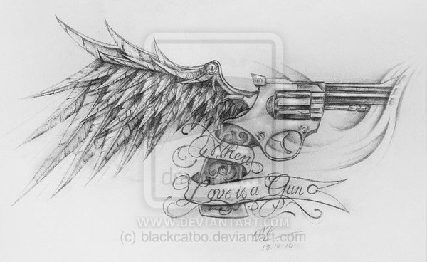 Love Gun With Wing Tattoo Sketch