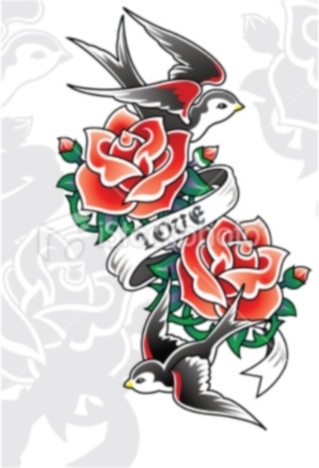 Love Red Roses And Bird Tattoo Designs
