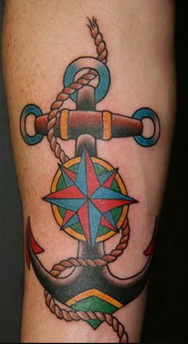 Lovely Anchor And Nautical Compass Tattoo
