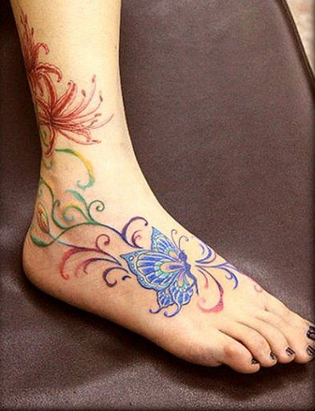 Lovely Colorful Tattoos For Girls On Ankle