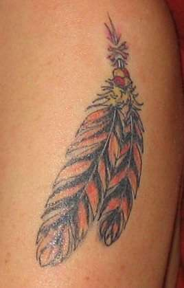 Lovely Double Native American Feather Tattoos