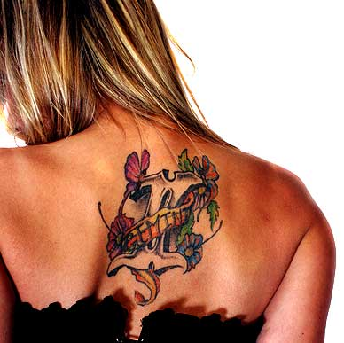 Lovely Floral Gemini Symbol Tattoo On Upperback