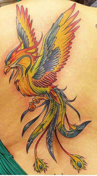 Lovely Full Color Phoenix Tattoo On Back