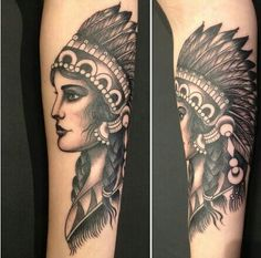 Lovely Grey Native American Woman Tattoos