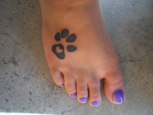 Lovely Heart Pawprint Tattoo For Girls And Women
