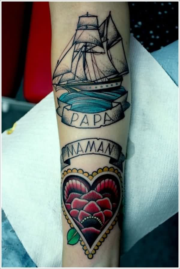 Lovely Nautical Memorial Tattoos On Arm