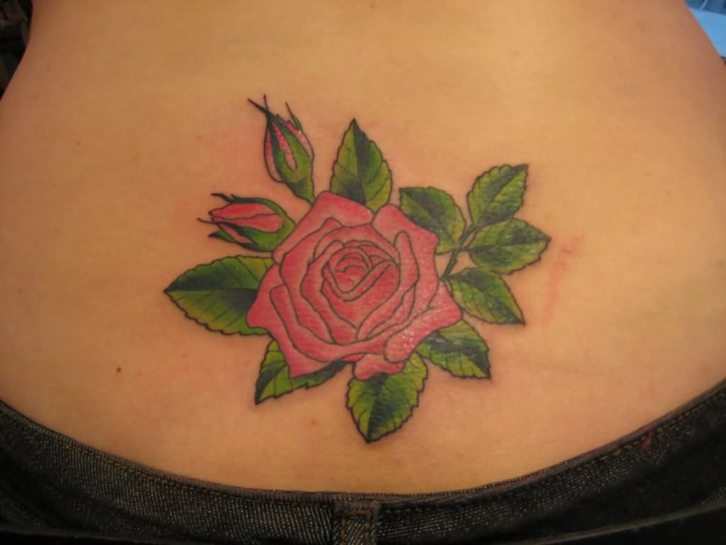 Lovely Red Rose Tattoo On Lowerback