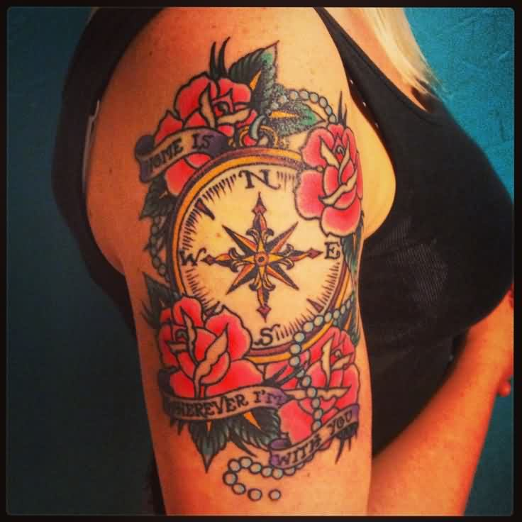 Lovely Roses With Compass Tattoos On Arm