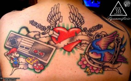 Lovely Video Game Winged Heart And Swallow Tattoos