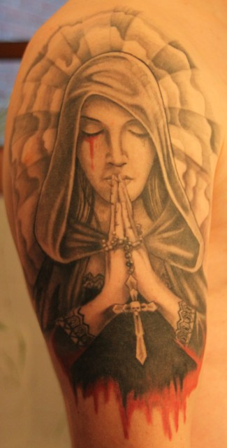 Madonna Praying Hands Tattoo On Arm