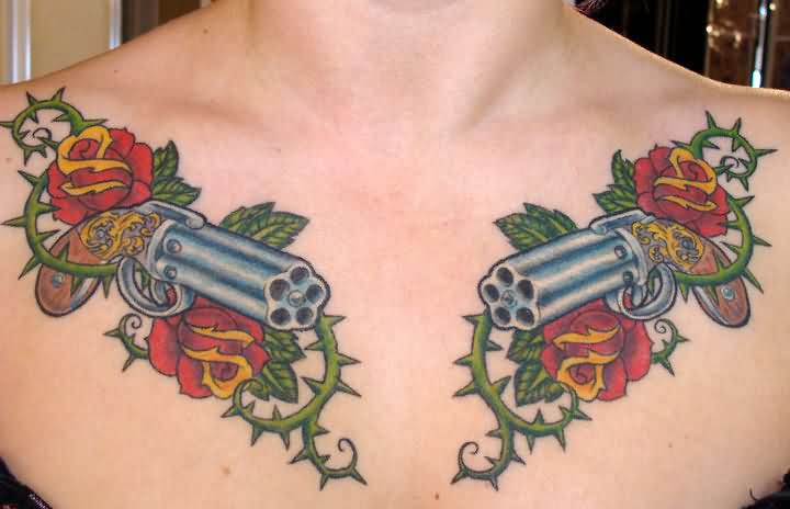 Magnificent Rose Vine And Pistol Tattoos On Upper Chest