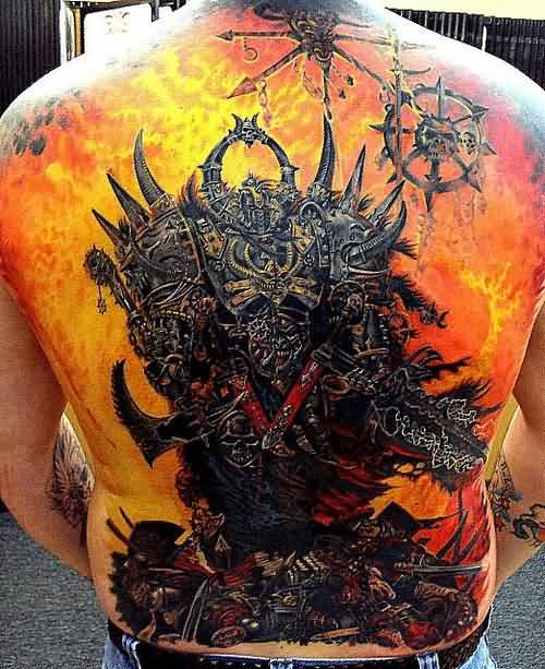 Majestic Video Game Tattoos On Entire Back