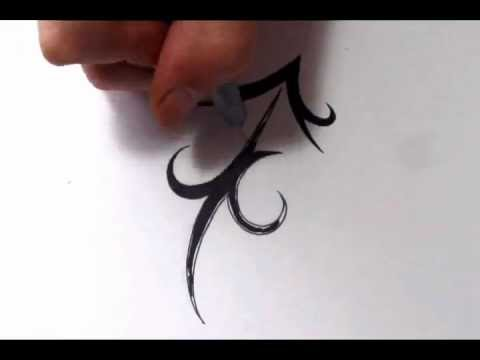 Making New Zodiac Sagittarius Tattoo On White Page