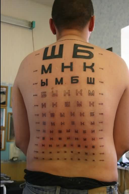 Man With Alphabet And Symbol Tattoos