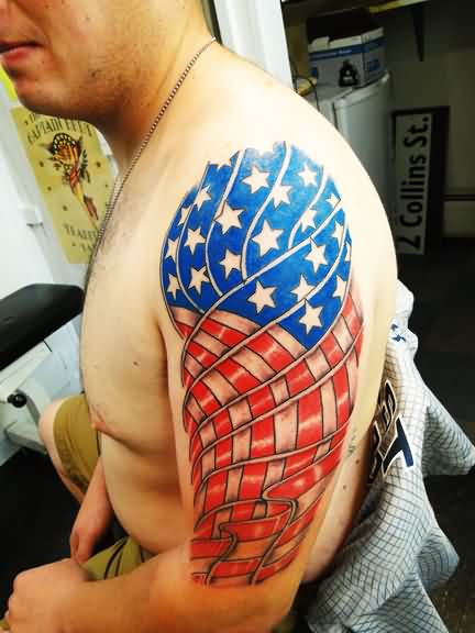 Man With New Patriotic Tattoo On Arm