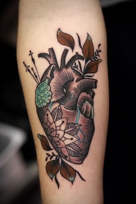 Mandala Anatomical Heart With Leaves Tattoos On Arm