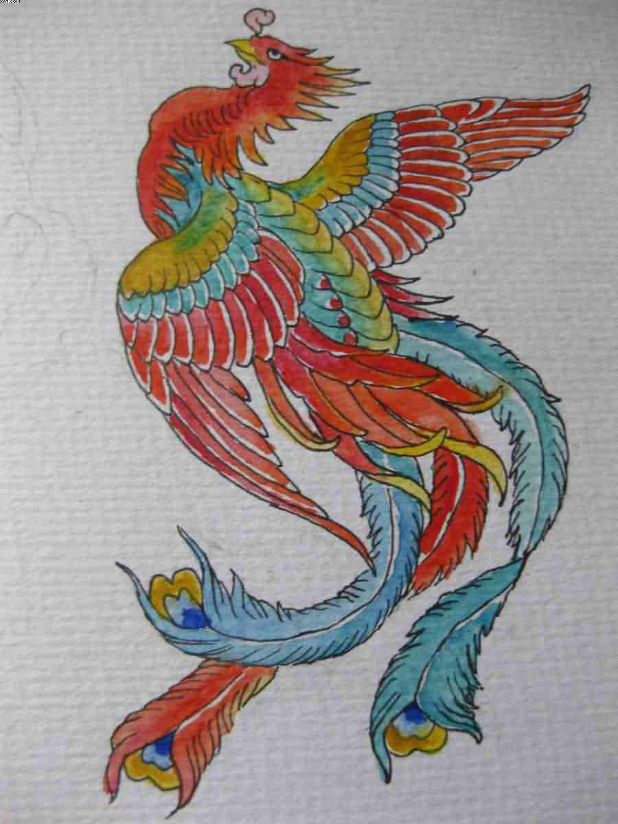 Many Color Phoenix Tattoo Design