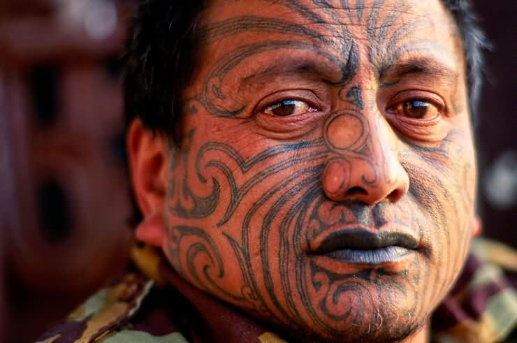 Maori Face Tattooed People